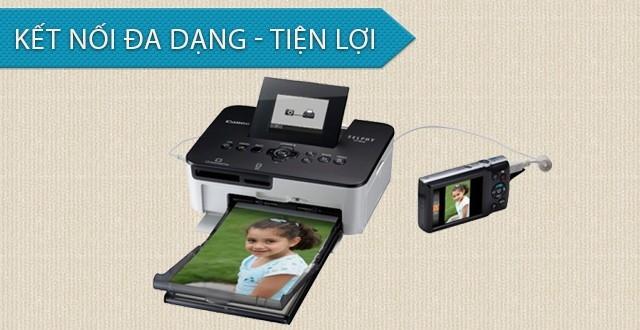 Máy in ảnh Canon CP1000 có nhiều chuẩn kết nối giúp in ảnh nhanh chóng, tiện lợi